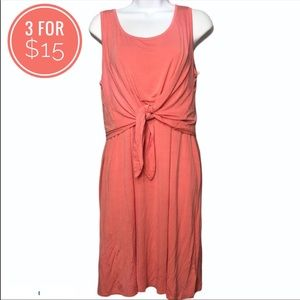Style & Co Medium Coral Twist Front Dress Maxi Long Line Swoop Neck Summer